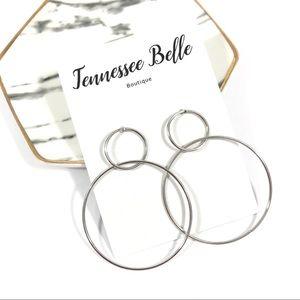 Della Double Circle Stud Hoop Boutique Earrings